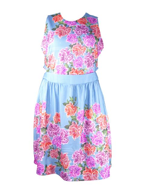 Vestido plus size azul flores vermelhas  frente